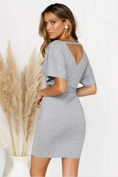 Sexy V neck Lacing Short sleeve Bodycon Dresses