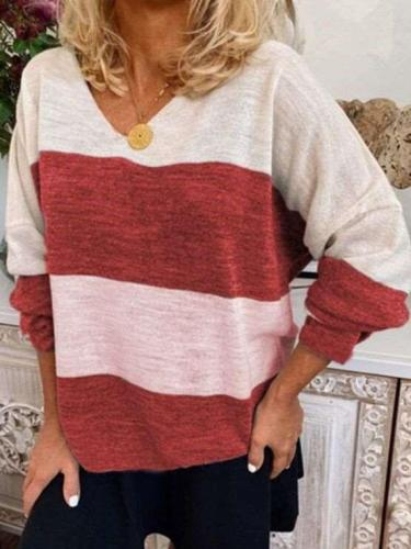 Fashion Casual Stripe V neck Long sleeve T-Shirts