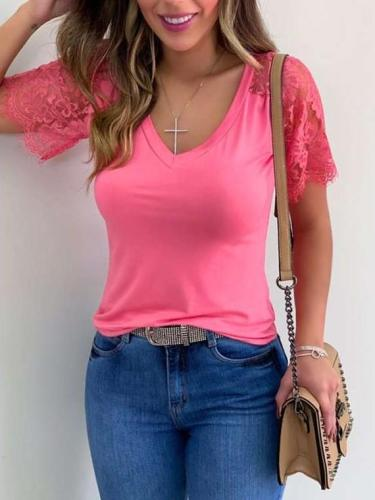 Fashion Pure V neck Lace Short sleeve T-Shirts