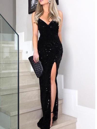 Sexy sequined slit high-waisted halter v-neck evening dresses