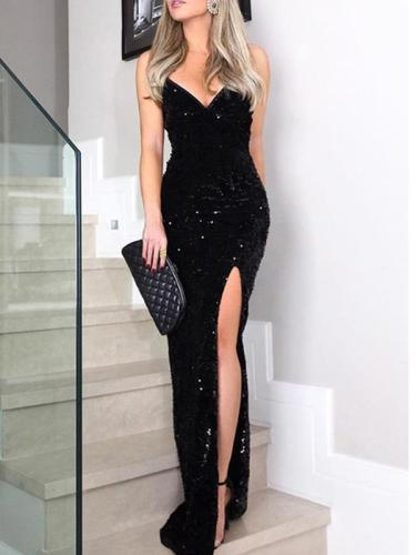 Sexy sequined slit high-waisted halter v-neck evening dresses