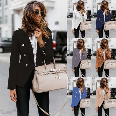 Fashion Pure Double breasted Lapel Long sleeve Blazer