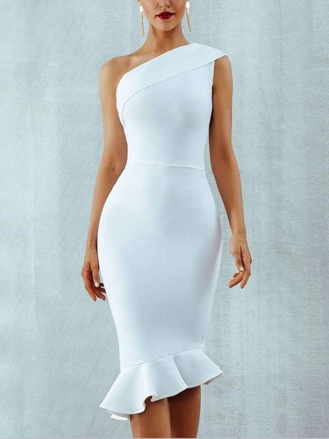 Pure Sleeveless Sloping shoulder  Fishtail Evening Dresses
