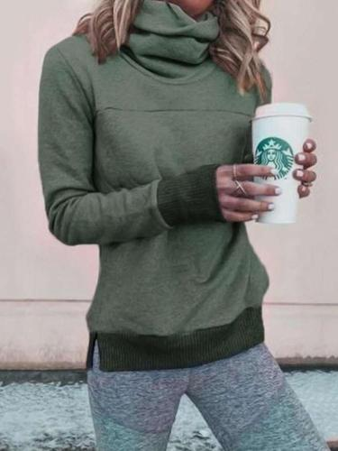 Fashion High collar Long sleeve Sweatshirts