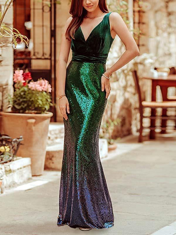 Sexy slim v neck sleeveless Gradient sequins women long evening dresses