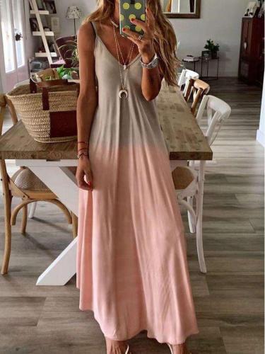 Fashion  V Neck Sleeveless Cotton Maxi Dresses