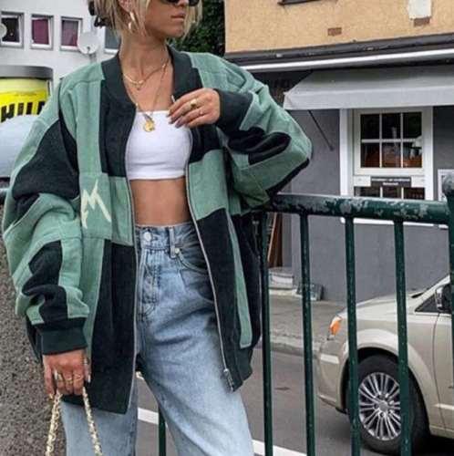 Fashion Casual Gored Round neck Long sleeve Zipper Coats