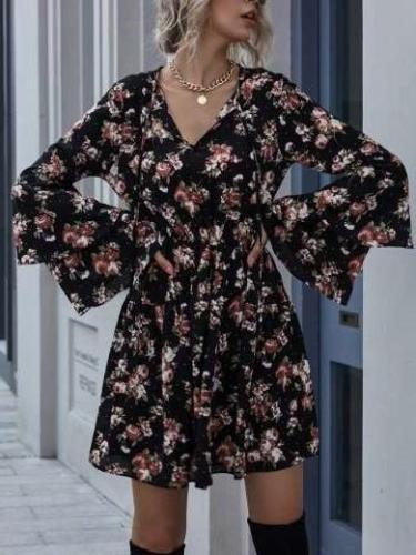 Fashion Sexy Print V neck Long sleeve Skater Dresses