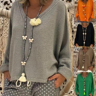 V Neck Long Sleeve Plain Casual Knitting Sweaters