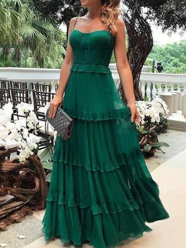 Elegant strapless green women long evening dresses