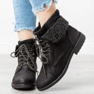 Worsted flanged  low heels tied ankle boots