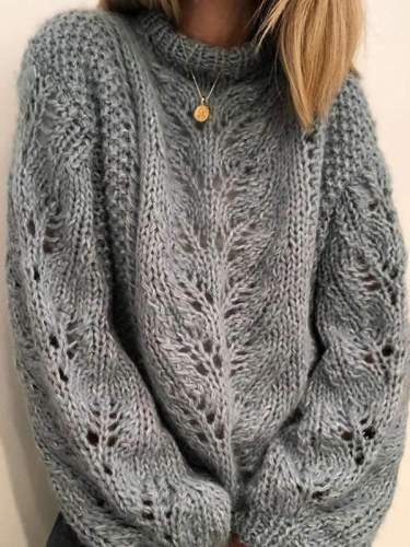 Fashion pure color loose knit hollowed-out sweaters