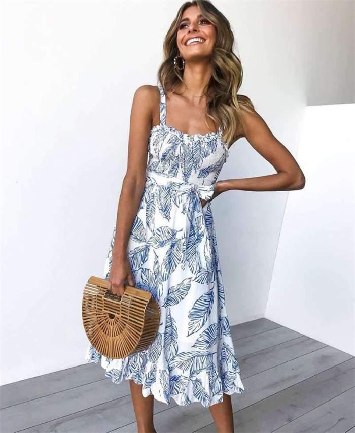 Sexy Fashion Sling Print Maxi Dresses