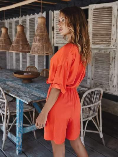 Fashion V neck Lacing Fastener Half sleeve Jumpsuits