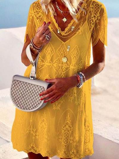 Elegant V Neck Embossed Short Sleeve Pure Colour Shift Dress