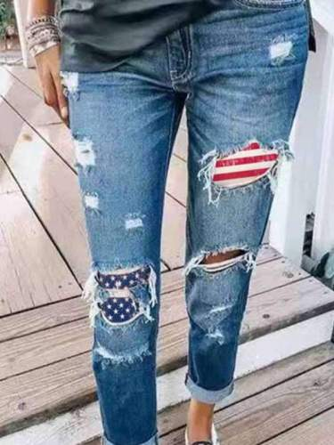 Women stylish blue hole design long pants denim jeans