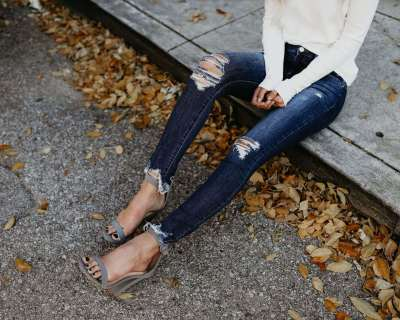 Fashion Hollow Jean Pencil Pants