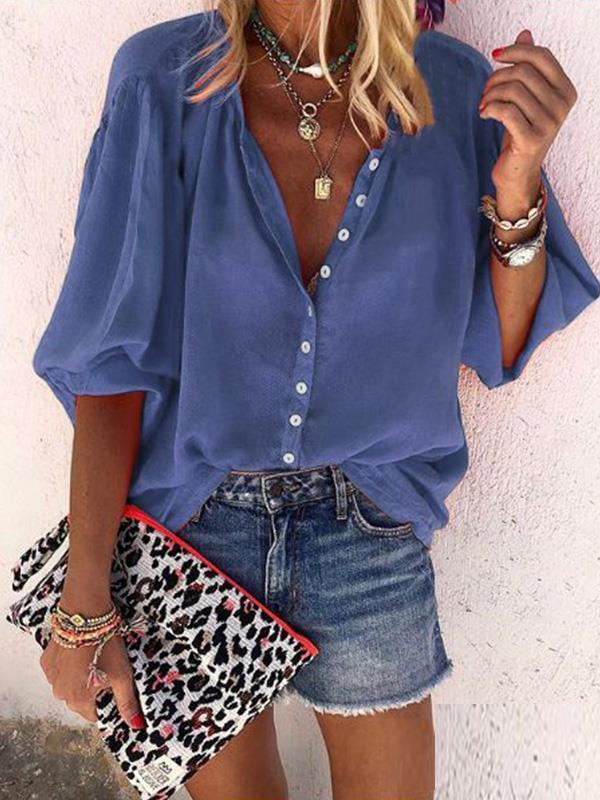 Plain long sleeve v-neck button blouses for Women
