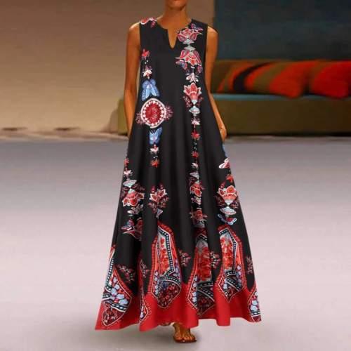 Casual Print V neck Sleeveless Maxi Dresses