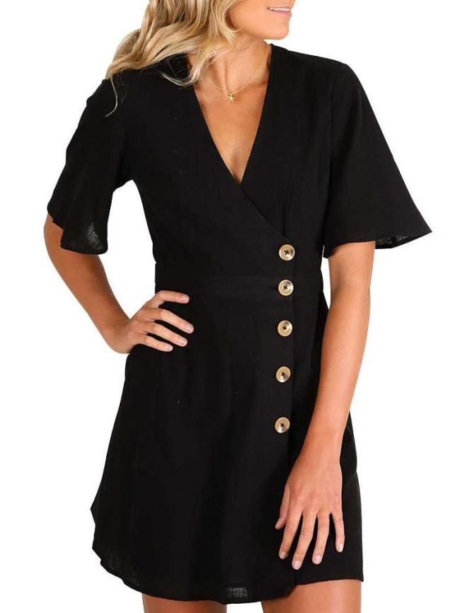 Fashion Pure V neck Short sleeve Fastener Shift Dresses
