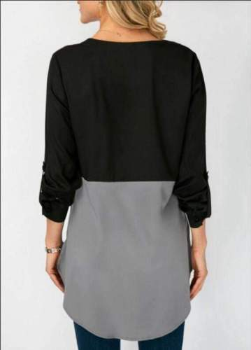 Loose Round neck Gored Long sleeve Long Blouses