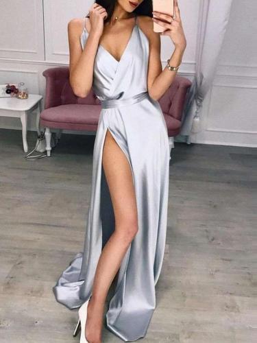 Fashion Sexy Pure Vest V neck Vent Evening Dresses