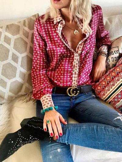 Printed long sleeve chic blouses tops