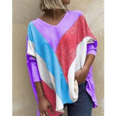 Fashion Casual Loose Stripe Gored V neck Long sleeve T-Shirts