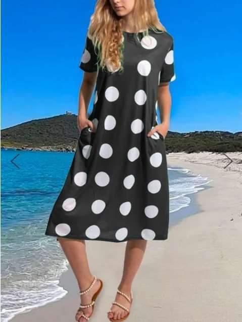 Casual Point print Round neck Short sleeve Pocket Maxi Dresses
