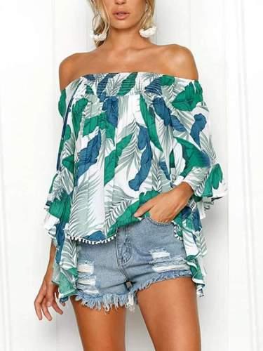 Summer Off Shoulder Women Floral Printed Fashion T-shirt