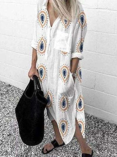 Casual Loose Print V neck Long sleeve Irregular Maxi Dresses