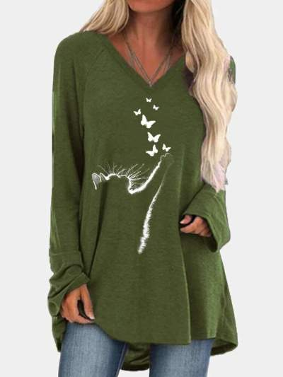 Fashion Casual Print V neck Long sleeve Plus T-Shirts