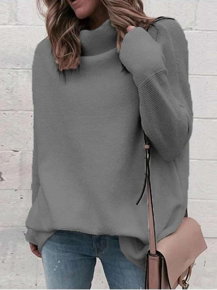 Fashion Casual Pure High collar Long sleeve Sweaters