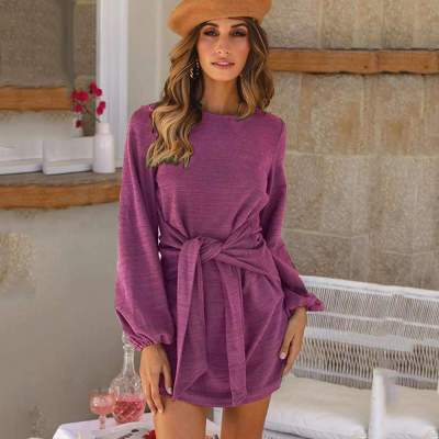 Pure Lacing Long sleeve Round neck Shift Dresses