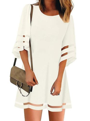 Women Flare Sleeve Round Neck Summer Shift Dresses