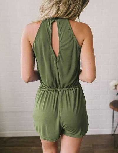 Fashion Pure Sleeveless Jumpsuits