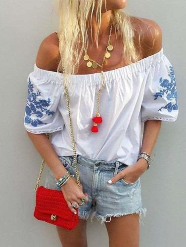 Casual Embroidery One shoulder Short sleeve Blouses
