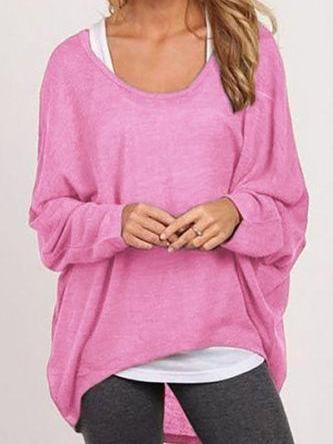 Women Loose Irregular Knit T-Shirts