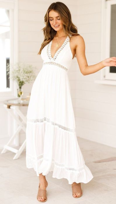Fashion Sexy Lacing Backless V neck Maxi Dresses