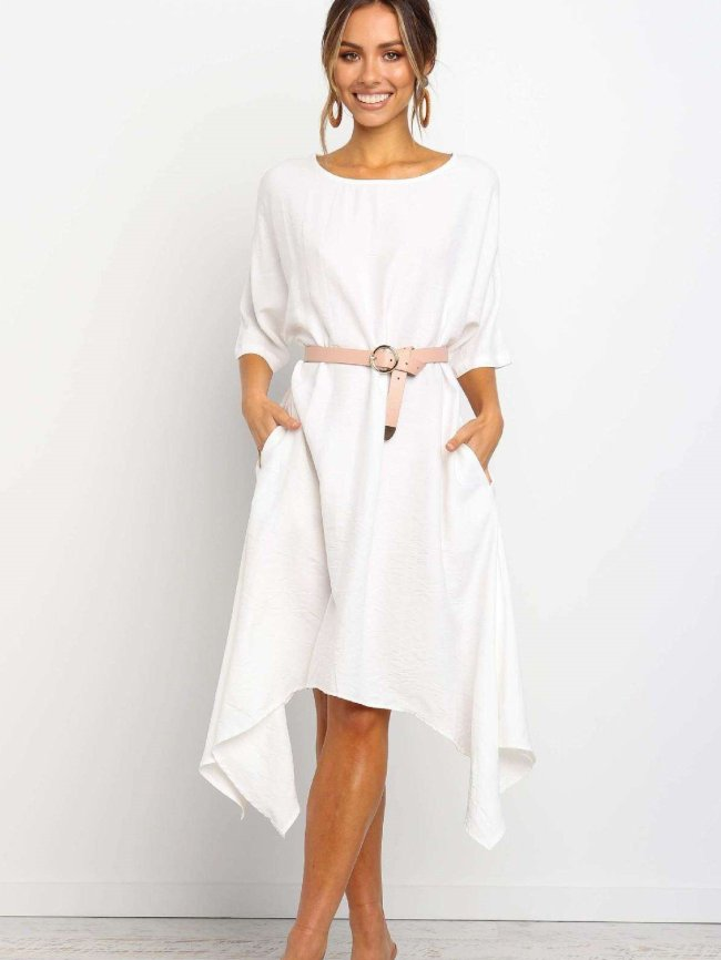 Fashion Loose Round neck Half sleeve Maxi Dresses(without belt)
