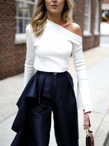 White Off shoulder Fashion Long Sleeve T-shirts