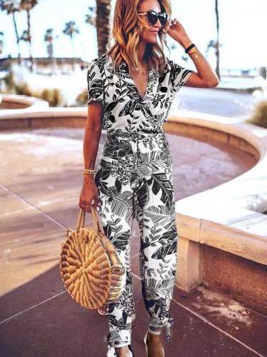 Fashion Print V neck Short sleeve Jumpsuits