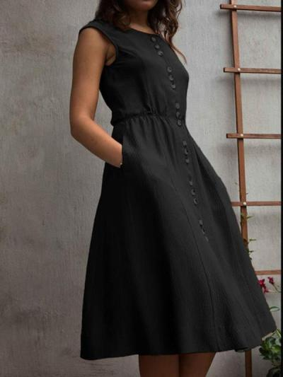 Plain button sleeveless skater dresses