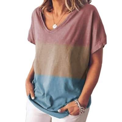 Fashion Gradient Short sleeve V neck T-Shirts