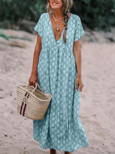 Loose V neck Printed Big Hem Maxi Dresses