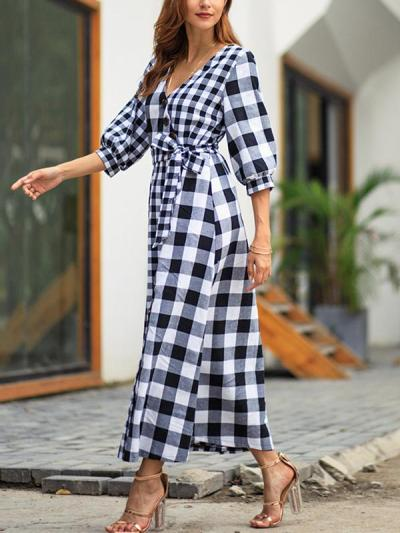 Plaid Half-sleeved vintage maxi dress
