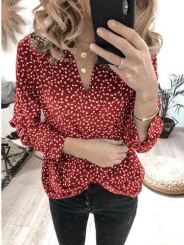 Fashion Point Print V neck Long sleeve Blouses