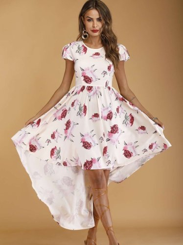 Fashion Print Round neck Short sleeve Skater Dresses