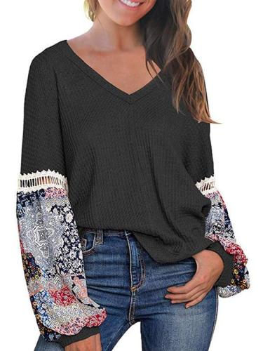 V-neck printed long sleeve casual T-shirts
