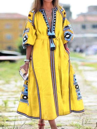 Fashion Casual Print V neck Lacing Bohemian Maxi Dresses